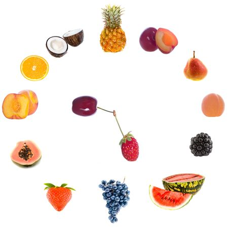 fruit clock. Isolation on the white