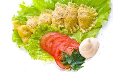 Traditional Russian food vareniki  photo