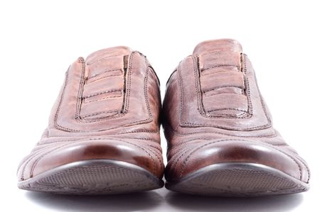 Male leather shoes isolated in white  photo