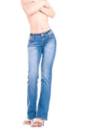 bodypart: girl in jeans. Isolation on the white  Stock Photo