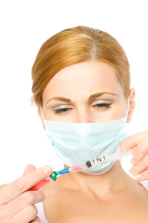 girl in a mask. Epidemic. H1N1 photo