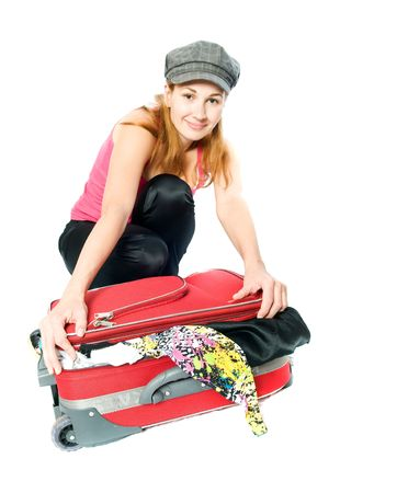 woman with a suitcase. Isolation on the white Stock Photo - 5926317