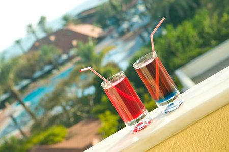 balustrades: Cocktails on a hotel balcony.  Stock Photo