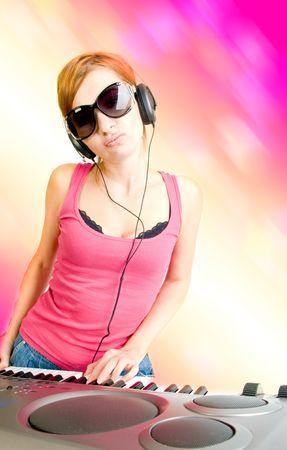 beautiful sexual woman in headphones  photo