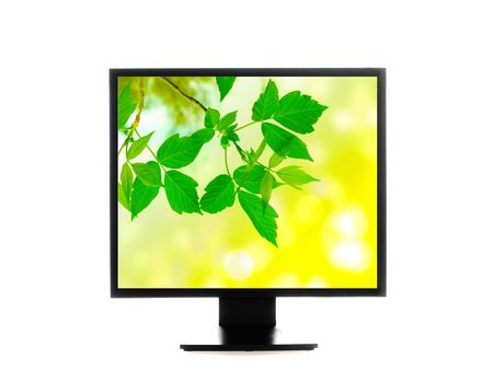 wideview: computer monitor. Isolated over white background Stock Photo