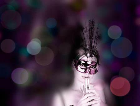 beautiful woman with mask and wine photo