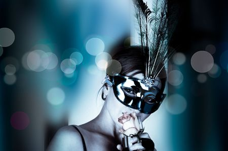 masque: beautiful woman with mask and wine