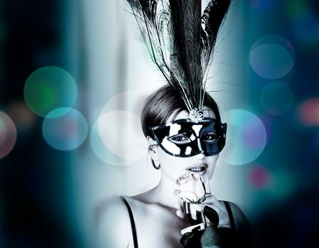 beautiful woman with mask and wine Stock Photo - 6223041
