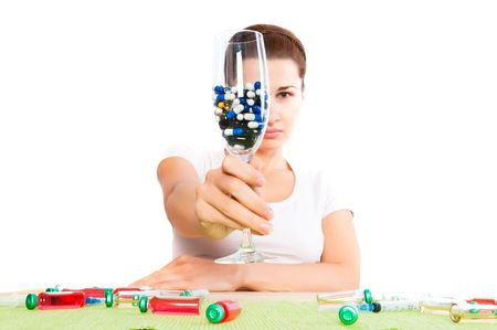 woman and pill close up Stock Photo - 6222848