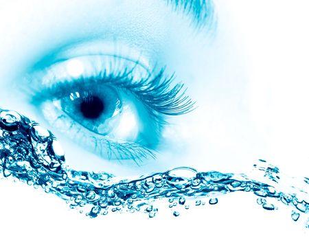 Beautiful blue eyes. on macro photo