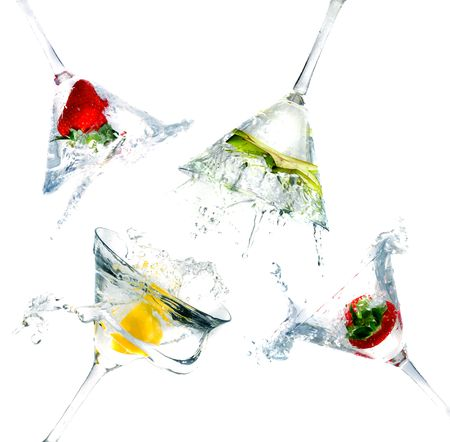 martini glass: splashing into a martini glass