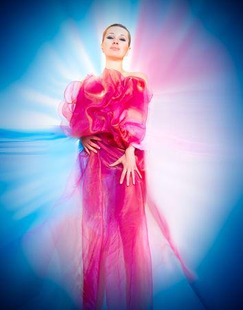 beautiful woman in silk photo