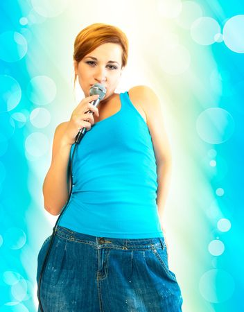 eavesdropping: beautiful sexual girl with a microphone Stock Photo