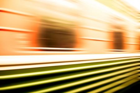blur subway: train passing by. Motion blur