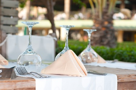 White Fine  Table Setting. summer photo