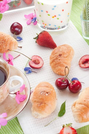 Breakfast. croissant with berries photo