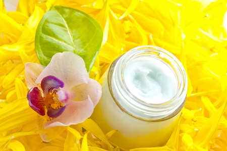 Skin cream and beauty flower photo