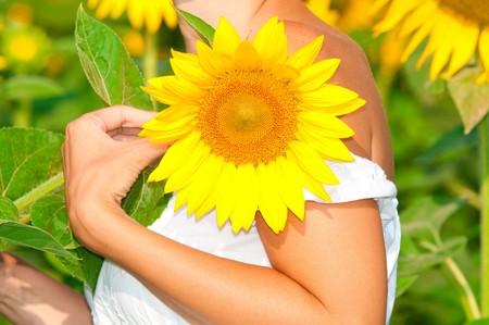 beautiful woman on field in summer photo
