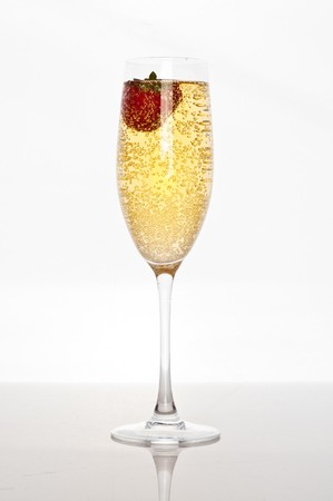 fresh strawberry floating in glass of champagne Stock Photo - 7846501
