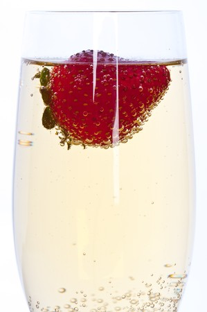 fresh strawberry floating in glass of champagne Stock Photo - 7846504