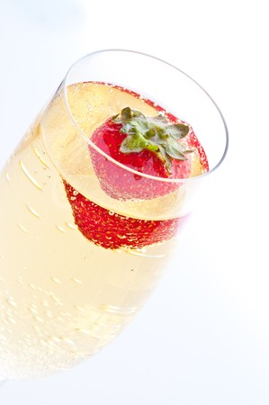 fresh strawberry floating in glass of champagne Stock Photo - 7846720