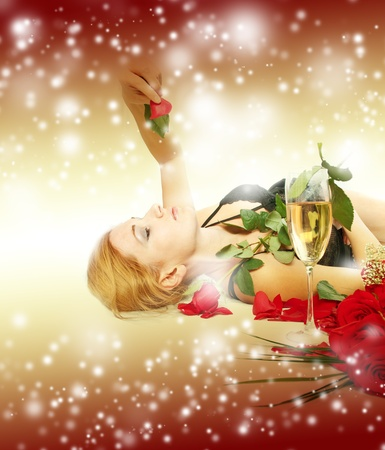 Sexy happy woman over holiday light background Stock Photo - 8397890