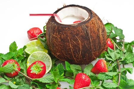 coconut drink with strawberry and mint photo