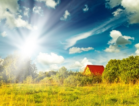 Summer landscape with green grass, road and clouds Stock Photo - 8707824