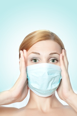 female doctor wearing surgical  mask photo