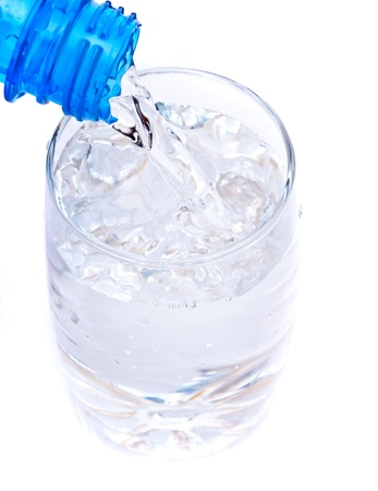 bottle pouring water into  glass photo