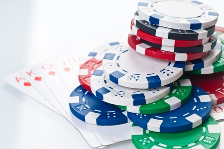 stack of poker color chips photo