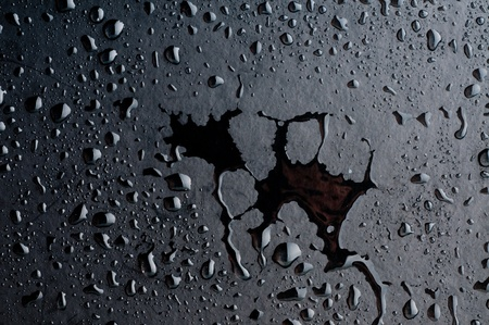 Water drops on metal surface photo