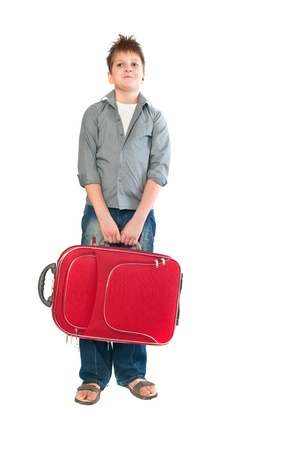 teenager with a suitcase. Isolation on the white Stock Photo - 9164782