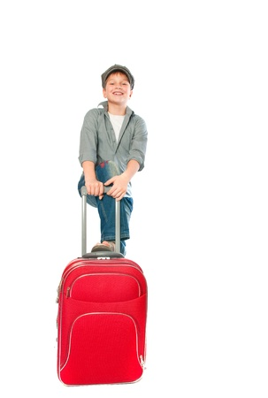 teenager with a suitcase. Isolation on the white Stock Photo - 9164781