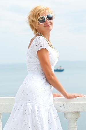 Beautiful woman enjoying the beach photo