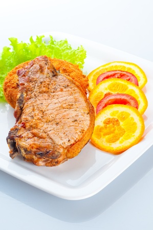 stake: Appetizing stake with vegetables Stock Photo
