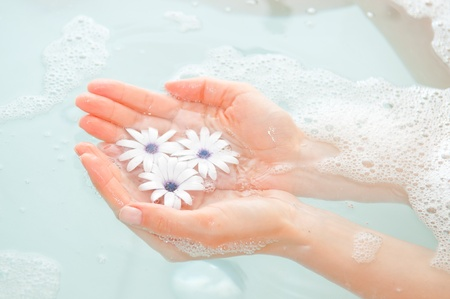 female hand and flower in water Stock Photo - 9592984