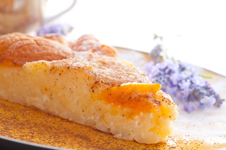Cottage cheese pie with apricots. photo