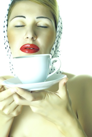 beauty lady is drinking coffee photo