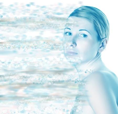 beautiful woman on a light background. spa set photo