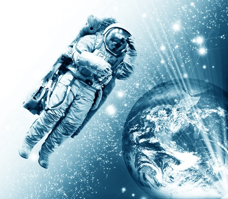 cosmonaut against the earth