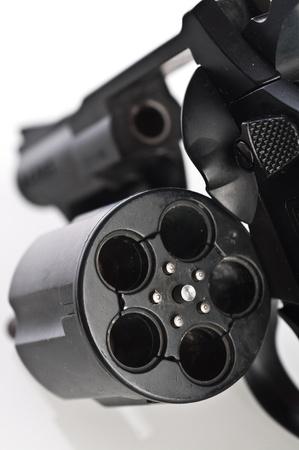 barrel pistol: Revolver on a white background Stock Photo