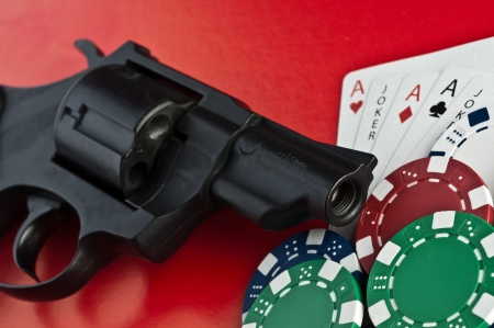 Casino.  revolver, cards and counters photo
