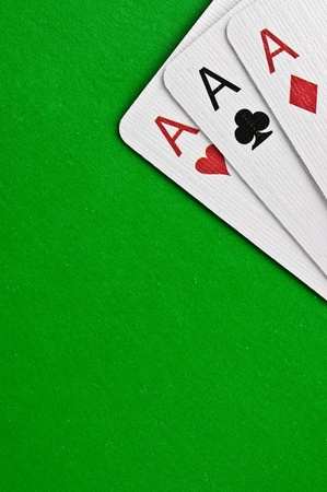 Ases against green cloth Stock Photo - 12886125