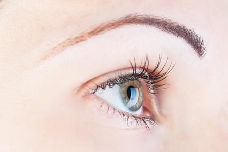 globo ocular: hermoso ojo humano y lentes de contacto