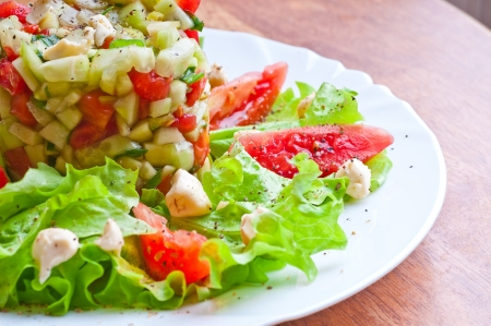 Fresh vegetable salad with tomato and cucumber photo