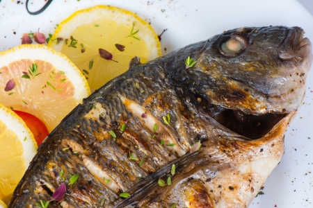 bass: fish, sea bass grilled with lemon