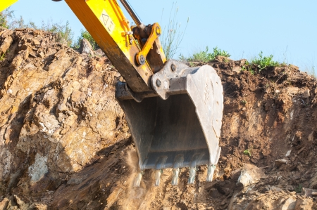 Excavator bucket closeup .Excavation photo
