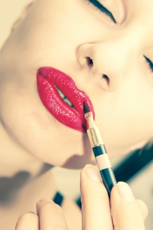 woman make up. red lip photo