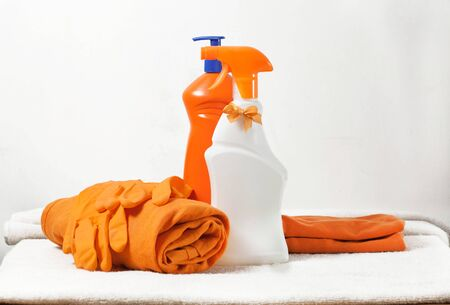 cleaning products on a white background